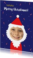 Kerstkaart grappig met kind foto