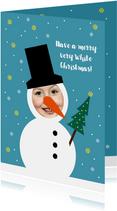 Kerstkaart grappig sneeuwpop met foto