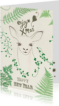 Kerstkaart Green Deer