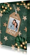 Kerstkaart groen lampjes sterren label foto