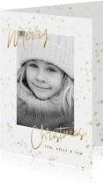 """Kerstkaart grote foto, gouden sterren en """"Merry Christmas"""""""