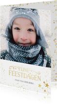 Kerstkaart grote foto met goudlook confetti