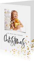 Kerstkaart handgeschreven tekst  en gouden confetti