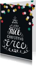 Kerstkaart handlettering kerstboom confetti