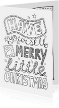 Kerstkaart handlettering zwartwit