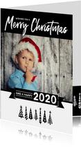 Kerstkaart happy 2020 bomen
