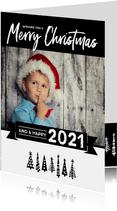 Kerstkaart happy 2021 bomen