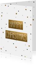 Kerstkaart  Happy Christmas Confetti goud