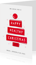 Kerstkaart happy healthy Christmas - goede doel CliniClowns