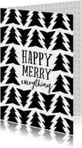 Kerstkaart Happy Merry Everything zwart wit