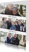 Kerstkaart 'HO HO HO' met sneeuwvlokjes
