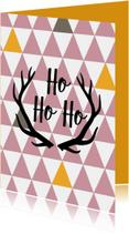 Kerstkaarten - Kerstkaart hohoho driekoekpatroon