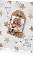 Kerstkaart hout sterren label pijltjes foto