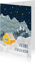Kerstkaart huisje in de bergen