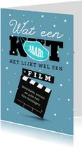 Kerstkaart humor corona film sneeuw mondkapje