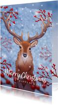 Kerstkaart illustratie hert met hulst besjes