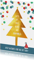 Kerstkaart illustratie kerstboom confetti