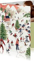 Kerstkaart illustratie ski landschap