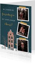Kerstkaart illustratie van een huisje en drie foto's