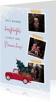 Kerstkaart illustratie van rode pickup en drie foto's