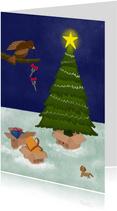 Kerstkaart illustratie verhuisdozen bij kerstboom avond
