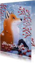 Kerstkaart illustratie vosje met hulst besjes