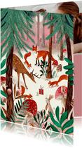 Kerstkaart illustratie woodland wonders bos dieren