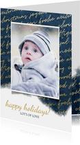 Kerstkaart internationaal waterverf met foto goud