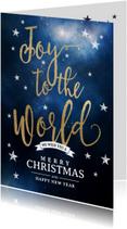 Kerstkaart Joy to the world sterren