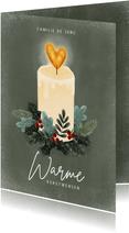 Kerstkaart kaarsje, kersttakjes en hartjes warme kerstwensen