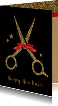 Kerstkaart Kapsalon gouden schaar