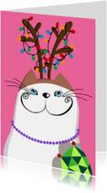 Kerstkaarten - Kerstkaart Kat met gewei