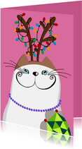 Kerstkaart Kat met gewei