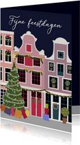 Kerstkaart - kerst in de stad