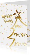 Kerstkaart kerstboom confetti goudlook wit