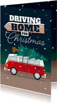 Kerstkaart kerstboom driving home for christmas busje