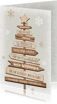 Kerstkaart kerstboom hout industrieel ster sneeuw positief