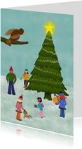 Kerstkaart kerstboom illustratie mensen en dieren
