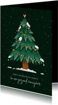 Kerstkaart kerstboom met hartjes liefdevolle kerst