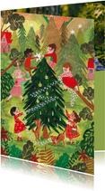 Kerstkaart kerstboom met kindjes in dorpje met kerstbomen