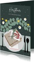 Kerstkaart kerstdiner tafel met kerstversiering