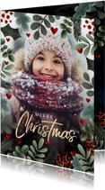 Kerstkaart kerstkader, grote foto, hartjes 'Merry Christmas'