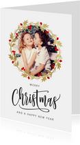 Kerstkaart kerstkrans goud met foto