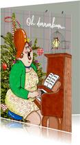 Kerstkaart kerstlied op de piano