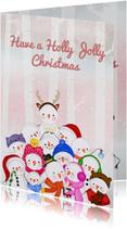 Kerstkaart kerstmis Jolly Snowmen
