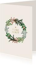 Kerstkaart klassieke kerstkrans