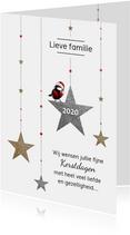 Kerstkaart koolmees op sterren met goud en zilver glitters