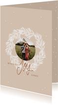 Kerstkaart krans foto Joy