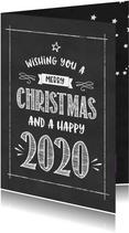 Kerstkaart Krijtbord happy 2020