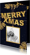 Kerstkaarten - Kerstkaart label goud Xmas